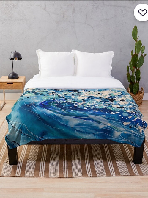 Azure Wave Throw Blanket