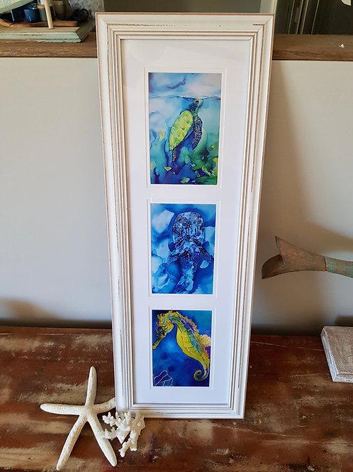 Long Triptych Hidden Depths Framed Print