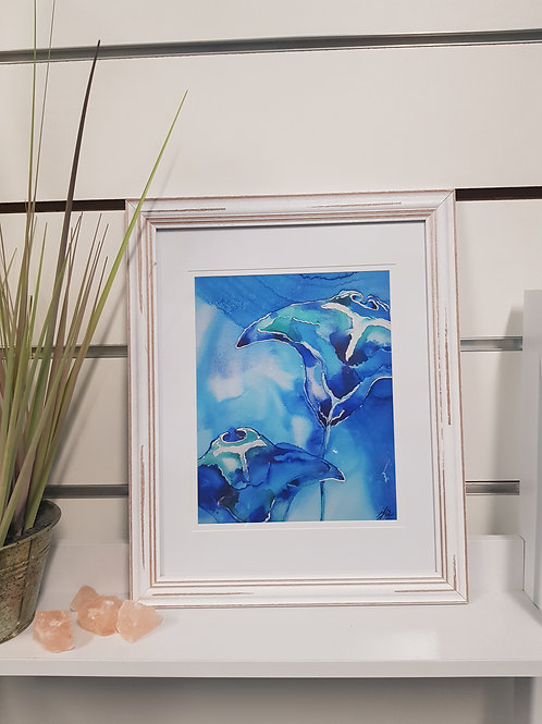 Into The Blue Rustic Framed Print