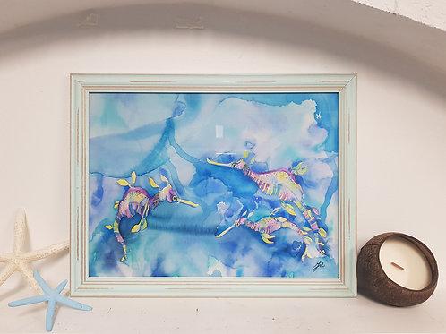 Candy Sea Dragons Rustic Framed Print