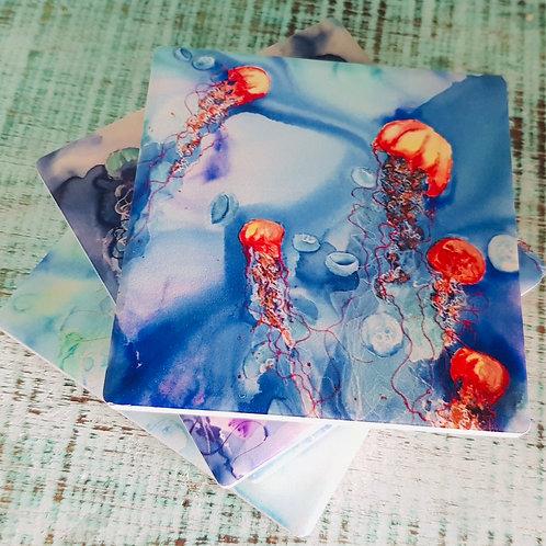 Jellyfish Tangle Ceramic Coasters