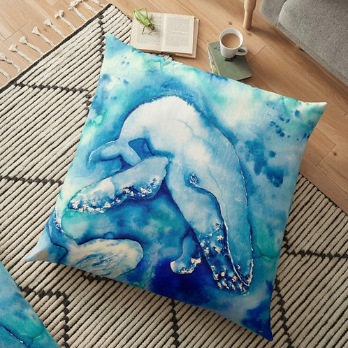 Inky Blue Whales Throw Cushion