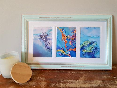 Short Triptych Island Cocktail Framed Print