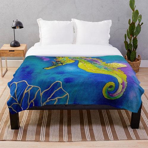 Coral Seahorse Throw Blanket