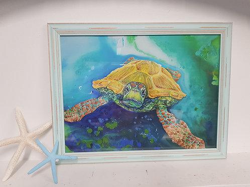 Emerald Beach Rustic Framed Print