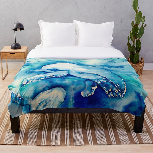 Inky Blue Whales Throw Blanket