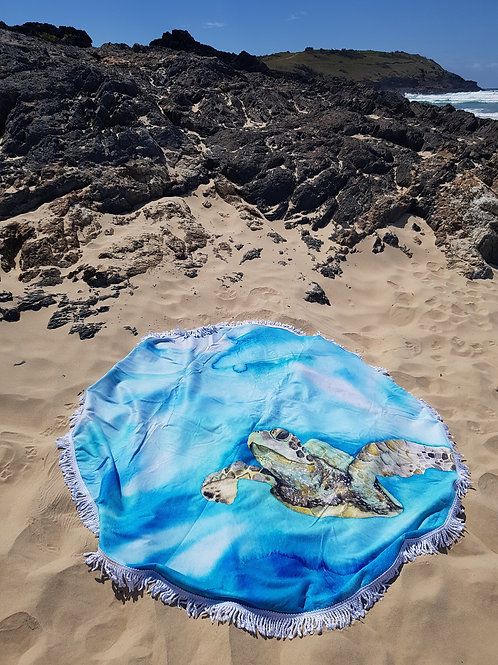 Green Sea Turtle Round Tassel Beach Towel