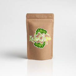 Watercolor hand painted logo for kale chips