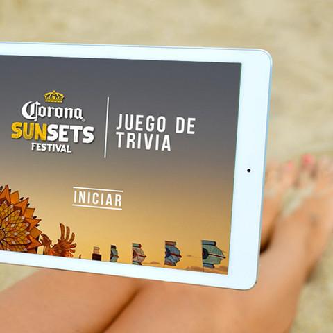 App UI design for Corona Sunsets Festival promotion