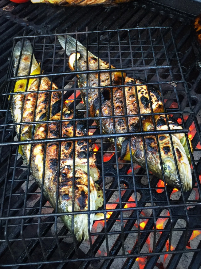 Grilled Branzino stuffed with citrus and fresh herbs
