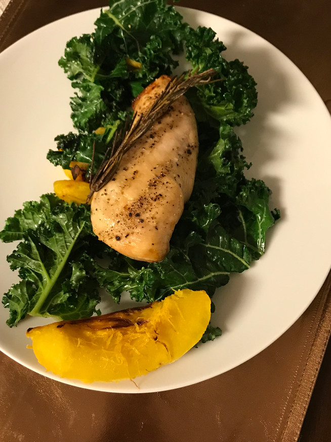 Roasted Chicken Breast with Kale and Roasted Acorn Squash