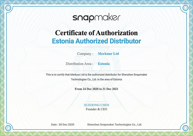Snapmaker Distributor Certificate_Merkuu