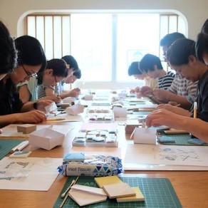 消しゴムはんこパターンで作る夏の千代紙講座2days、無事終わりました〜! 2days workshop has finished!