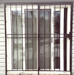 Patio security gate with S scrolls