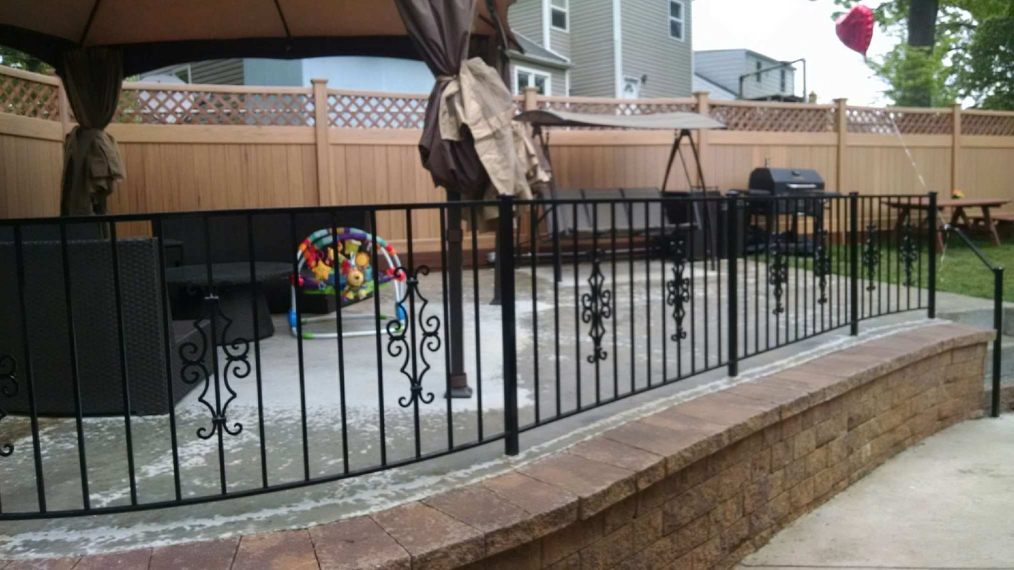 Patio fence w/ Victorian panels