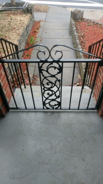 Front porch gate with decorative panel 2