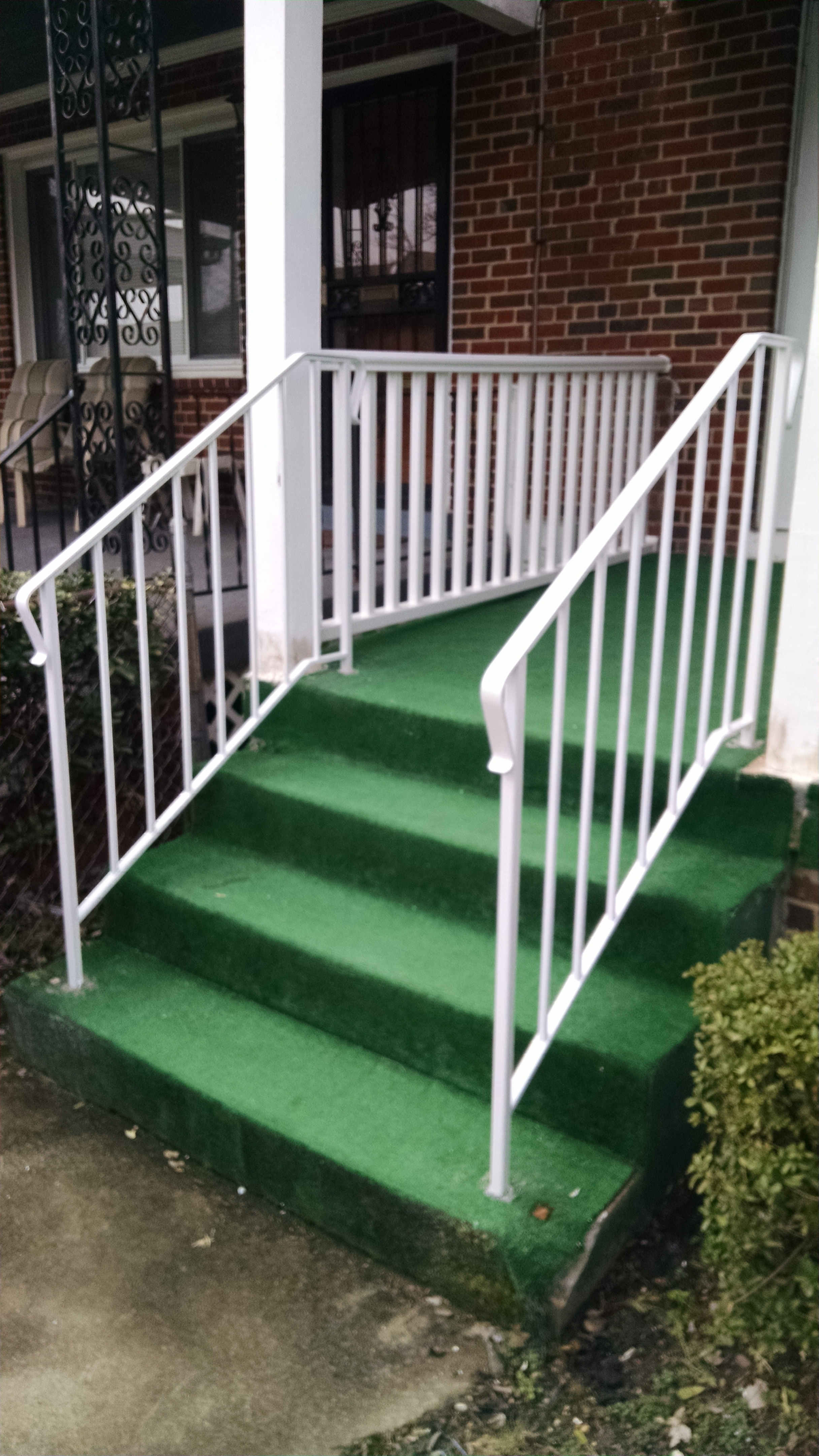 White stair rails