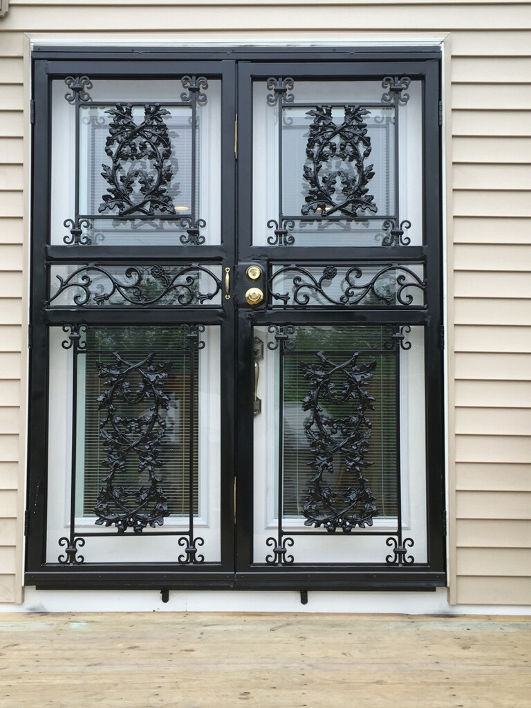 Decorative double patio security storm door