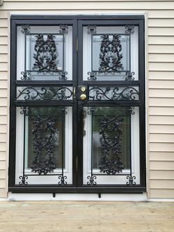 Decorative double patio security storm door