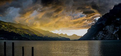 """Sonnenuntergang am Walensee"" - 800x400 mm"
