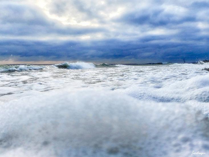 Nr.194 am alten Strand von Sassnitz bei stürmischer See,Blick Richtung Mukran
