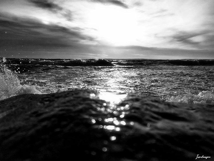 Nr.214 stürmische See am alten Strand Sassnitz an einem Wintermorgen