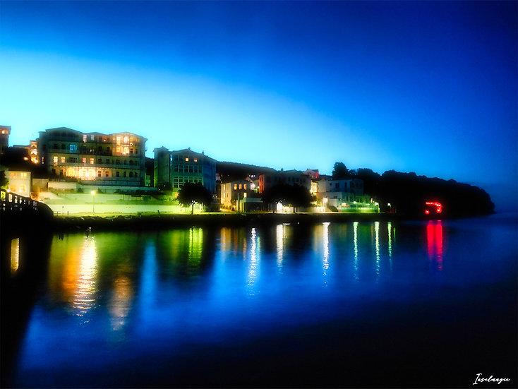 Nr.90 Abendstimmung in Sassnitz/Blick von der Seebrücke,Richtung klein Helgoland