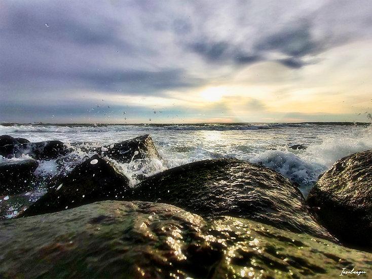 Nr.183 Morgenstimmung am alten Strand Sassnitz bei stürmischer See