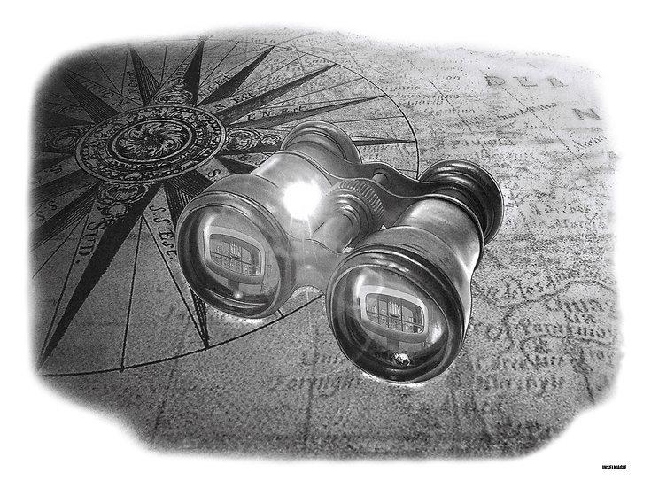 Nr.21 - alte Seekarte mit Fernglas