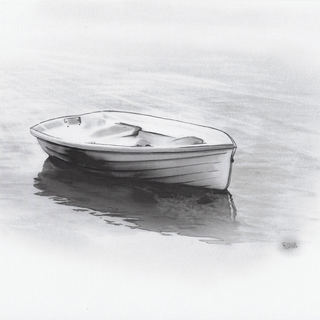 altes Boot im Sonnenaufgang