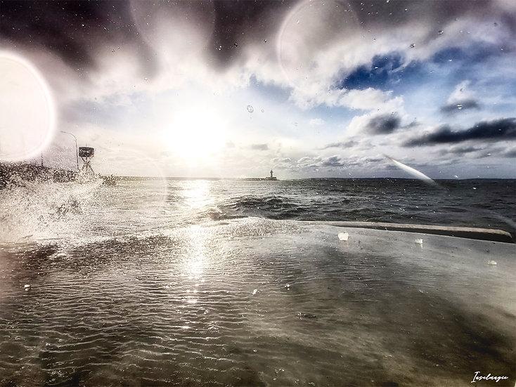Nr.251 Morgenstimmung im Winter im sassnitzer Hafen,Blick auf die Ostmole