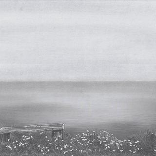einsame Bank am Meer