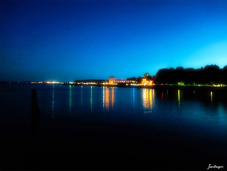 Nr.89 Abendstimmung in Sassnitz /Blick von der Seebrücke in Richtung Fischhalle