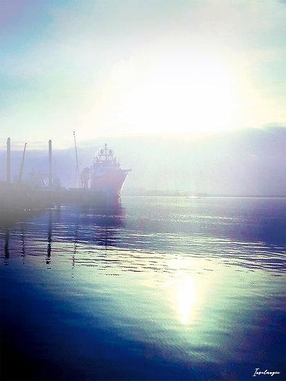 Nr.2 Morgenstimmung in Mukran mit Blick auf den Fährhafen