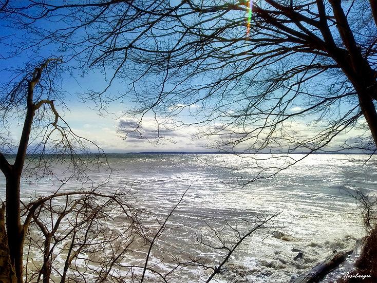 Nr.52 Blick von Dwasieden auf die stürmische Ostsee/Reste der alten Hafenmauer