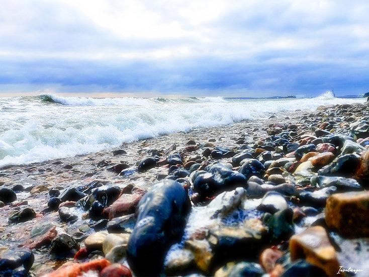 Nr.192 am alten Strand von Sassnitz bei stürmischer See,Blick Richtung Mukran