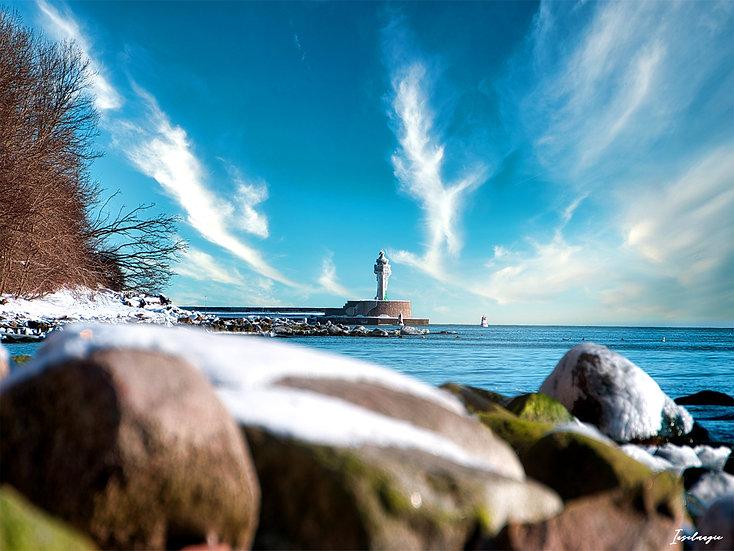 Nr.257 Blick im Winter vom alten Strand in Sassnitz auf die Ostmole