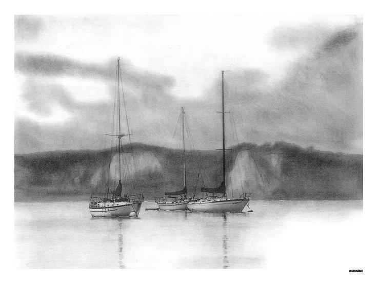 Nr.35  - Segelboote vor Anker an den Kreidefelsen