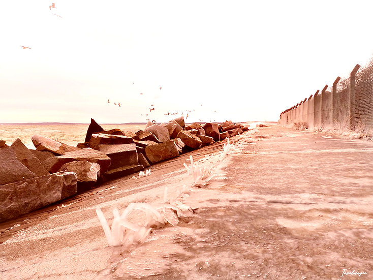 Nr.238 Wellen schlagen gegen die gefrorene Steinpackung sassnitzer Hafen
