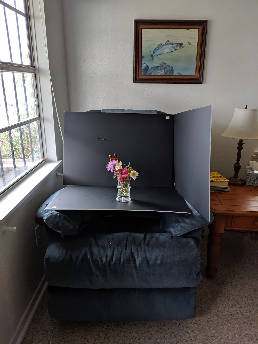 Setup for window light photos with Bergette Photography