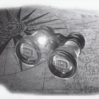 alte Seekarte mit Fernglas