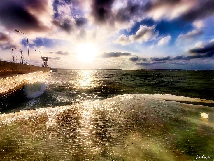 Nr.250 Morgenstimmung im Winter im sassnitzer Hafen,Blick auf die Ostmole