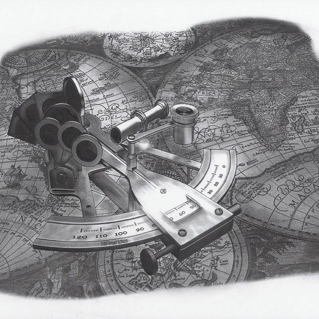 alte Seekarte und Sextant