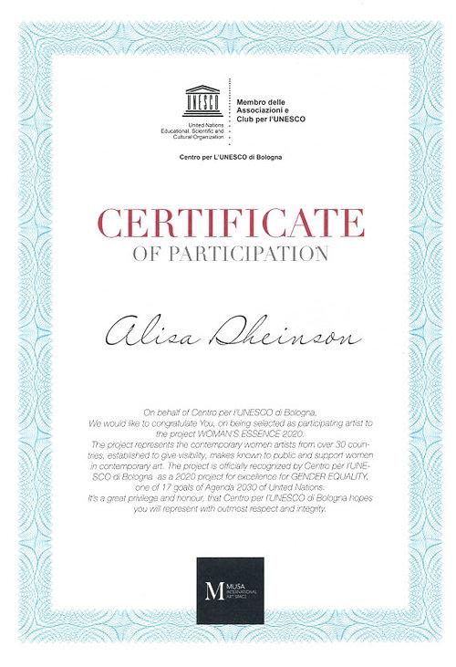 MUZA Certificate _ Studio Alisa Sheinson