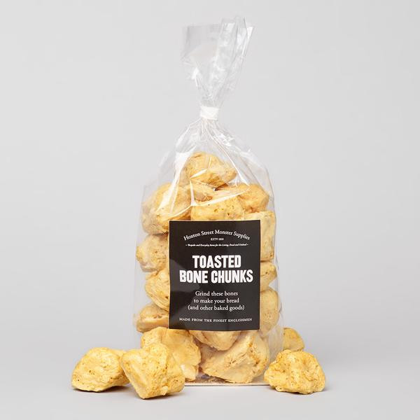 Unusual sweets pretending to be toasted bone chunks for halloween and zombies