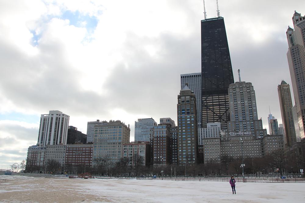chicago beach in the snow john hancock centre