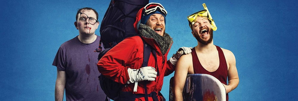 3 men in different travel gear from hoildays mountain and beach
