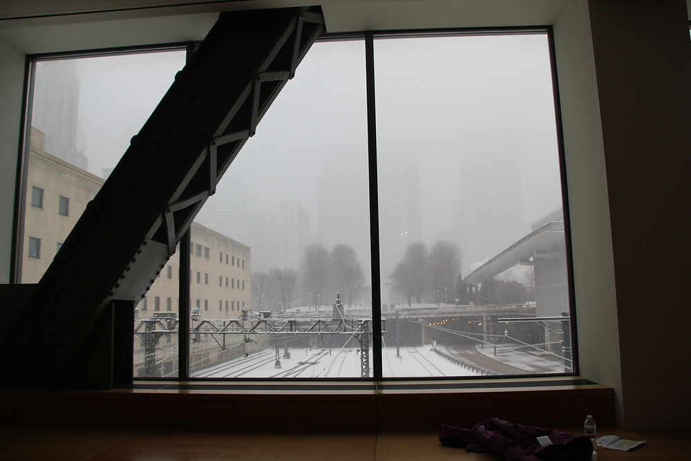 snowy view from chicago art institute industrial beam