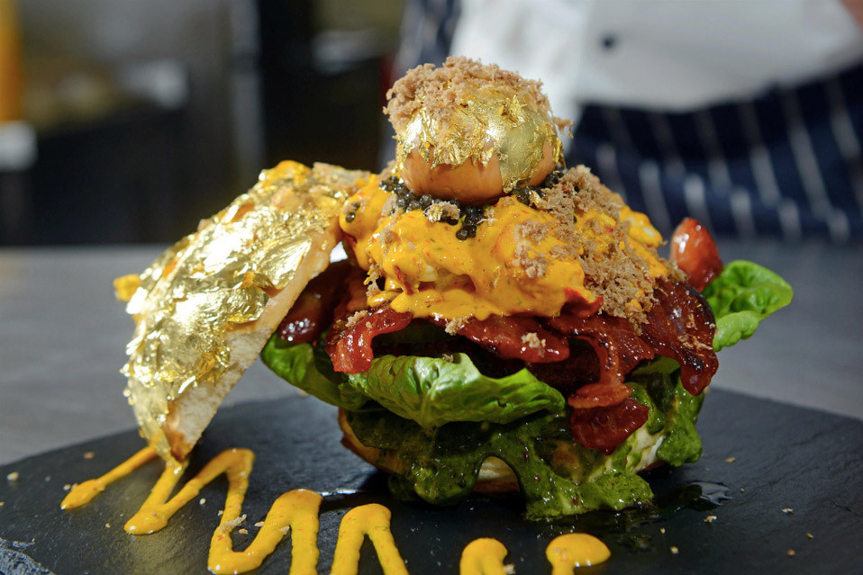 glamburger the most expensive burger in the world with gold leaf and caviar and poached egg