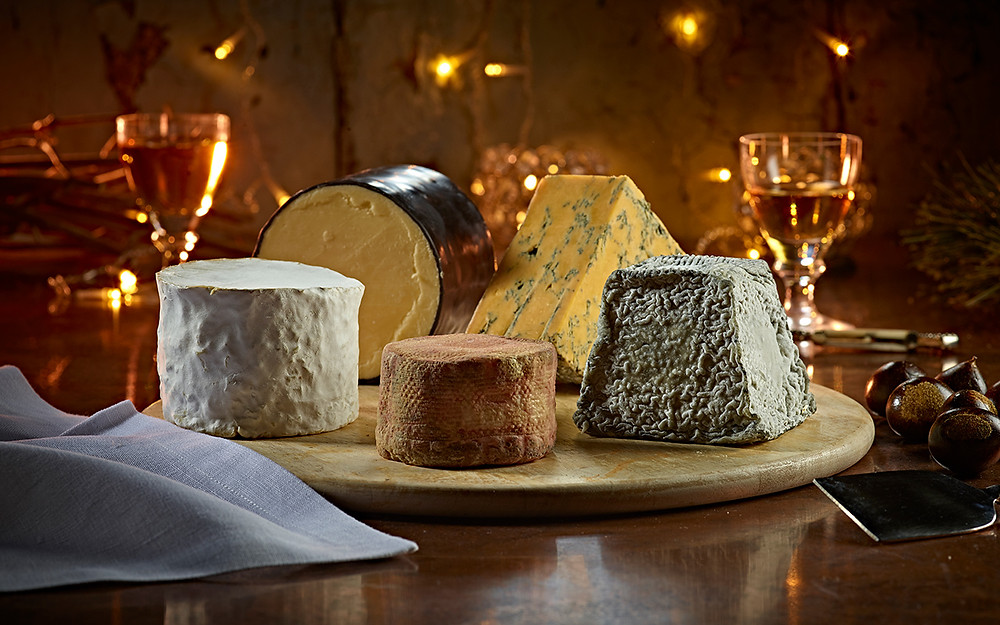 luxury cheese board in warm setting